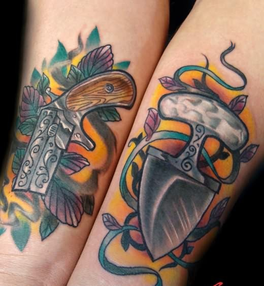 Cowboy's Pistol And Knife Wrist Tattoos