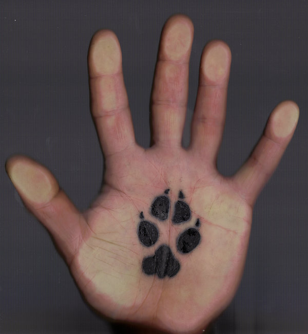 Coyote Paw Print Tattoo On Palm