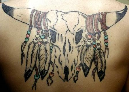 Cracked Native American Animal Skull Tattoo