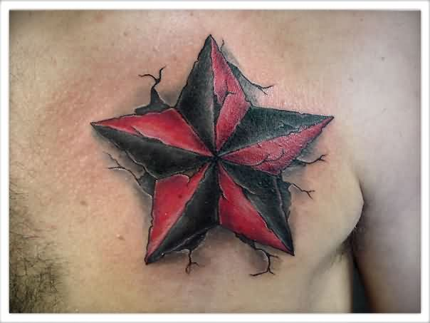 Cracked Nautical Star Tattoo On Chest