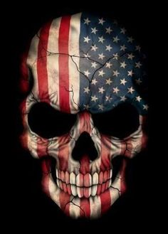 Cracked Patriotic Skull Tattoo Wallpaper