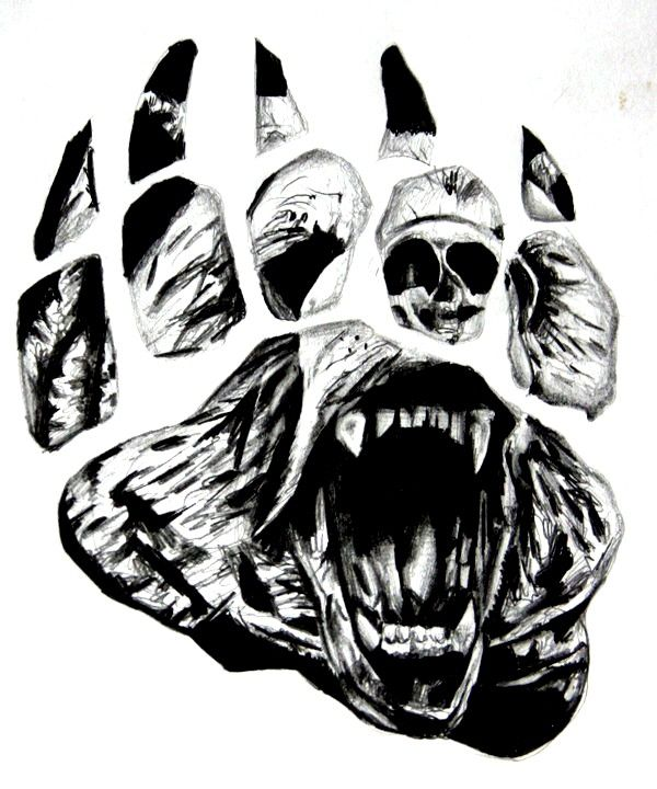 Crawling Bear Face In Paw Print Tattoo Design