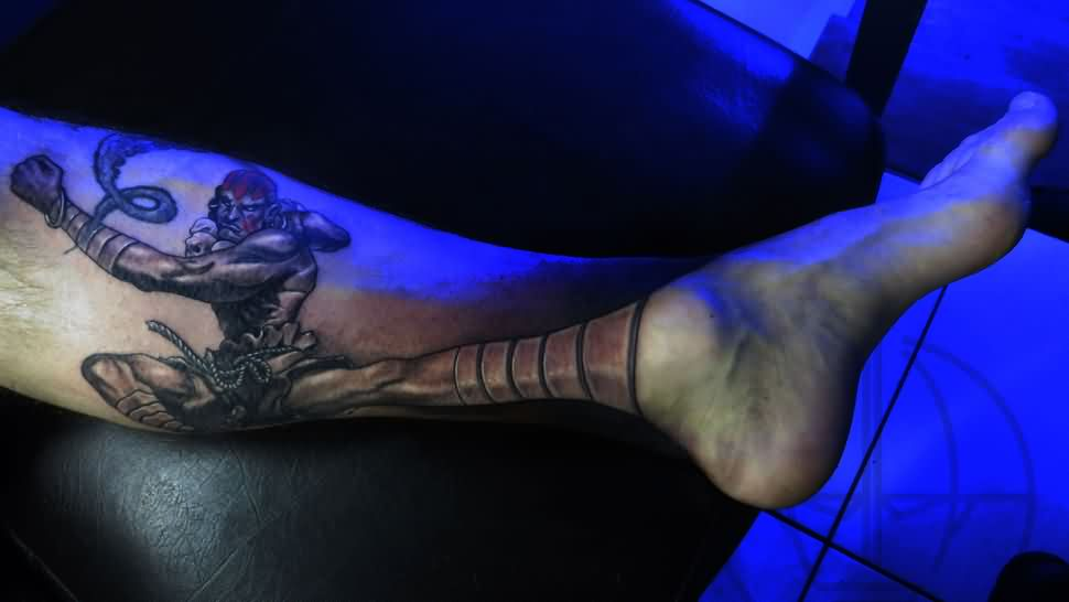 Creative Video Game Tattoo On Leg