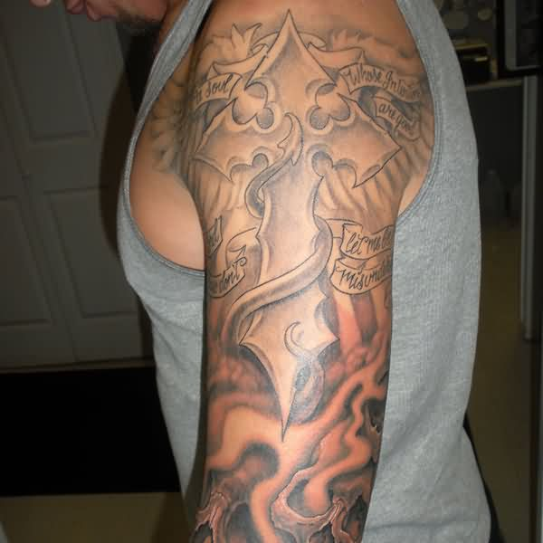 Cross And Flames Tattoos On Whole Arm