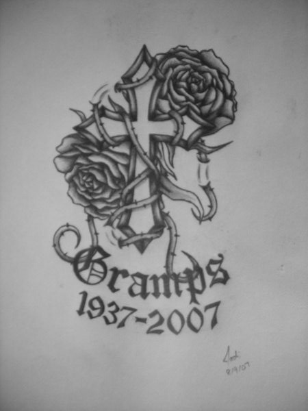 Cross And Rose Memorial Tattoos