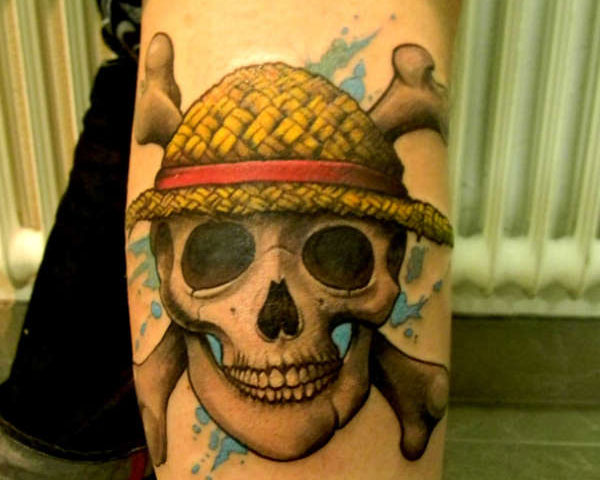 Cross Bones Behind Pirate Skull Tattoo