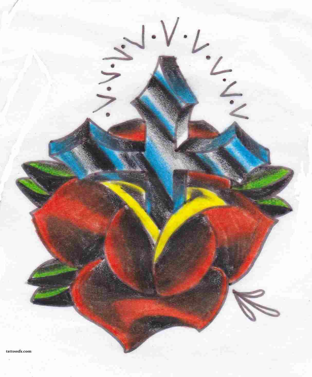 Cross In Red Rose Tattoo Design