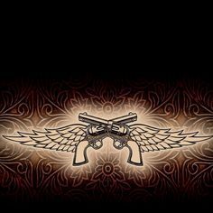 Crossed Pistol With Wings Tattoo Graphic