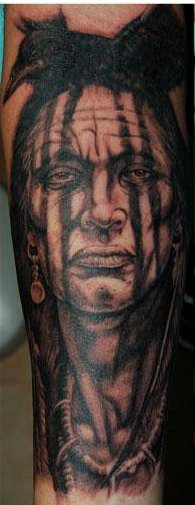 Crow On Chief Head Native American Tattoos