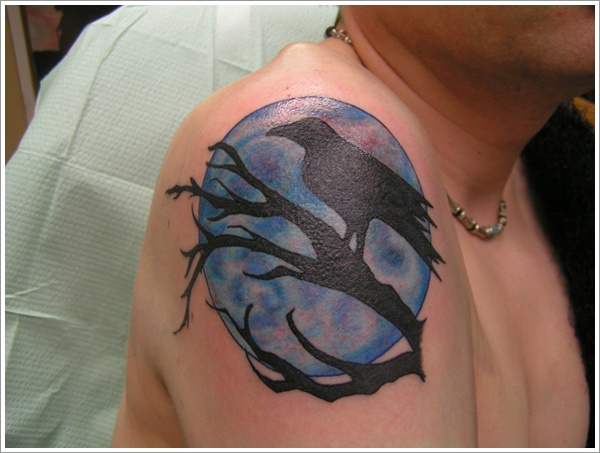 Crown On Branch In Front Of Moon Tattoo On Shoulder