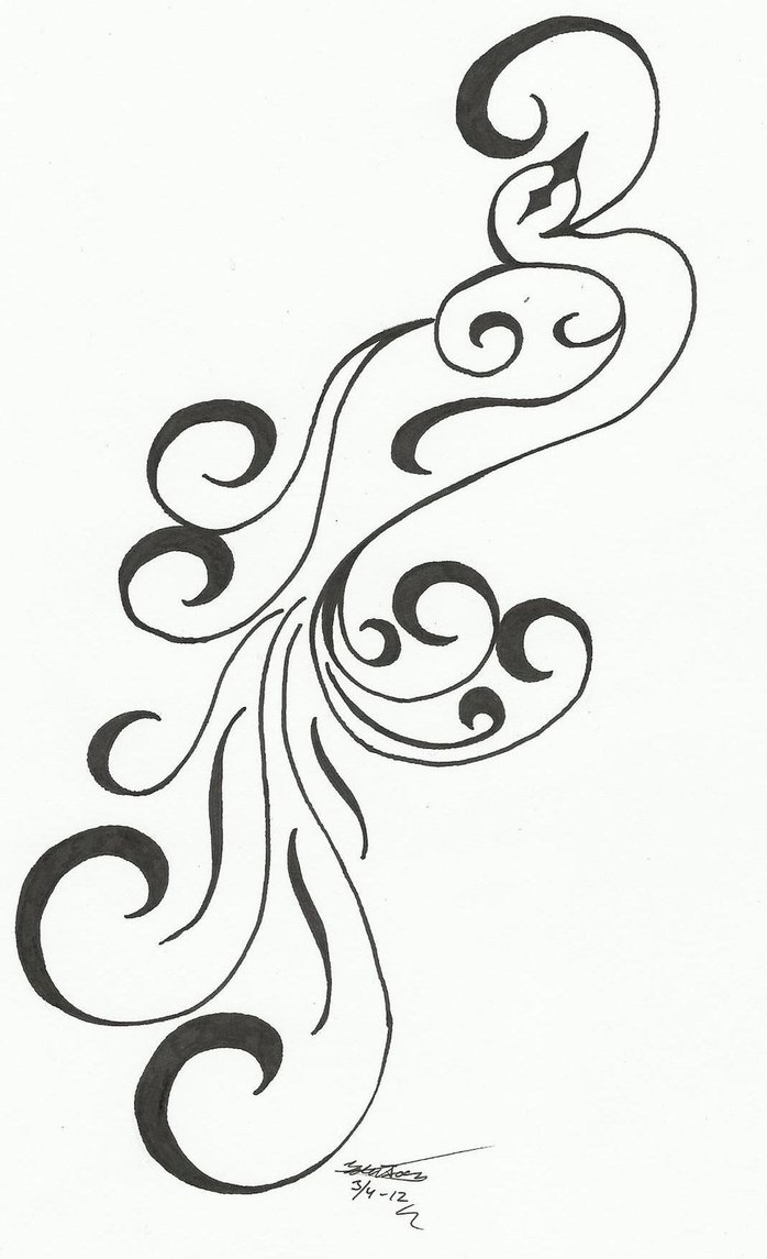 Curly Phoenix Tattoo Design