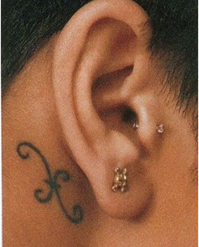 Curly Pisces Symbol Tattoo Behind Ear