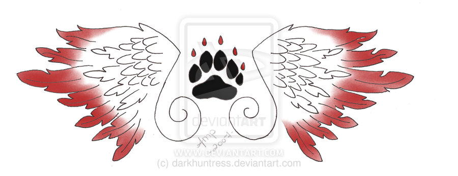 Curly Wings And Paw Tattoo Design