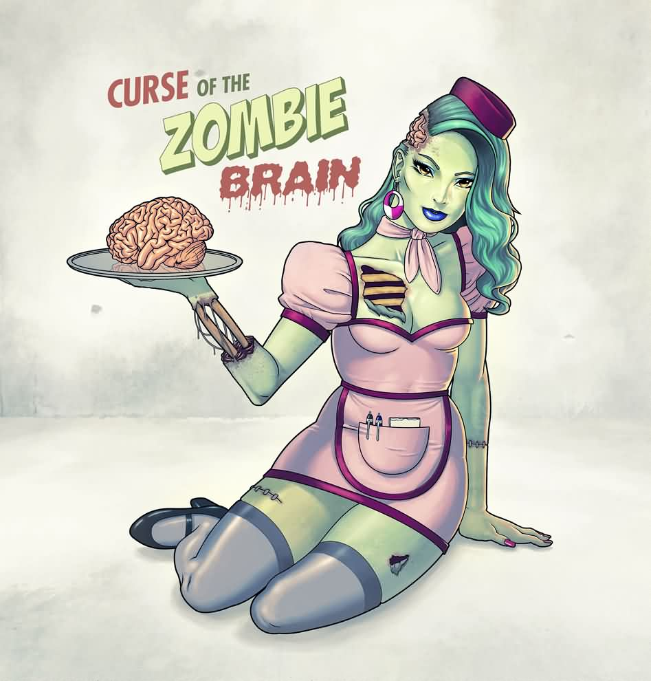 Curse Of The Zombie Brain Pinup Tattoo Design