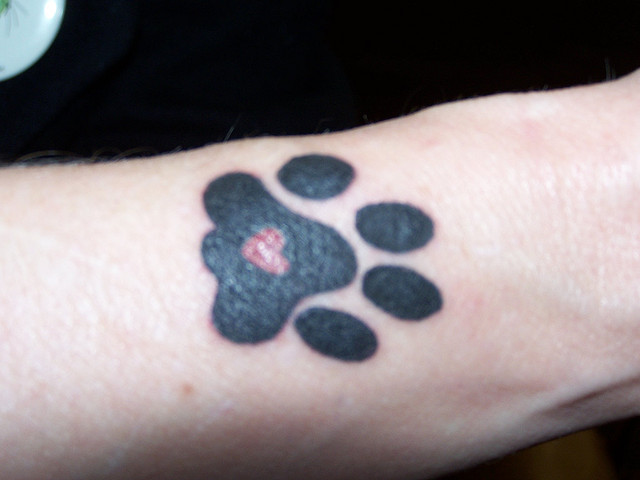 Cute Heart Paw Print Tattoo