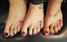 Cute Heart Symbol Tattoos On Feet For Friends