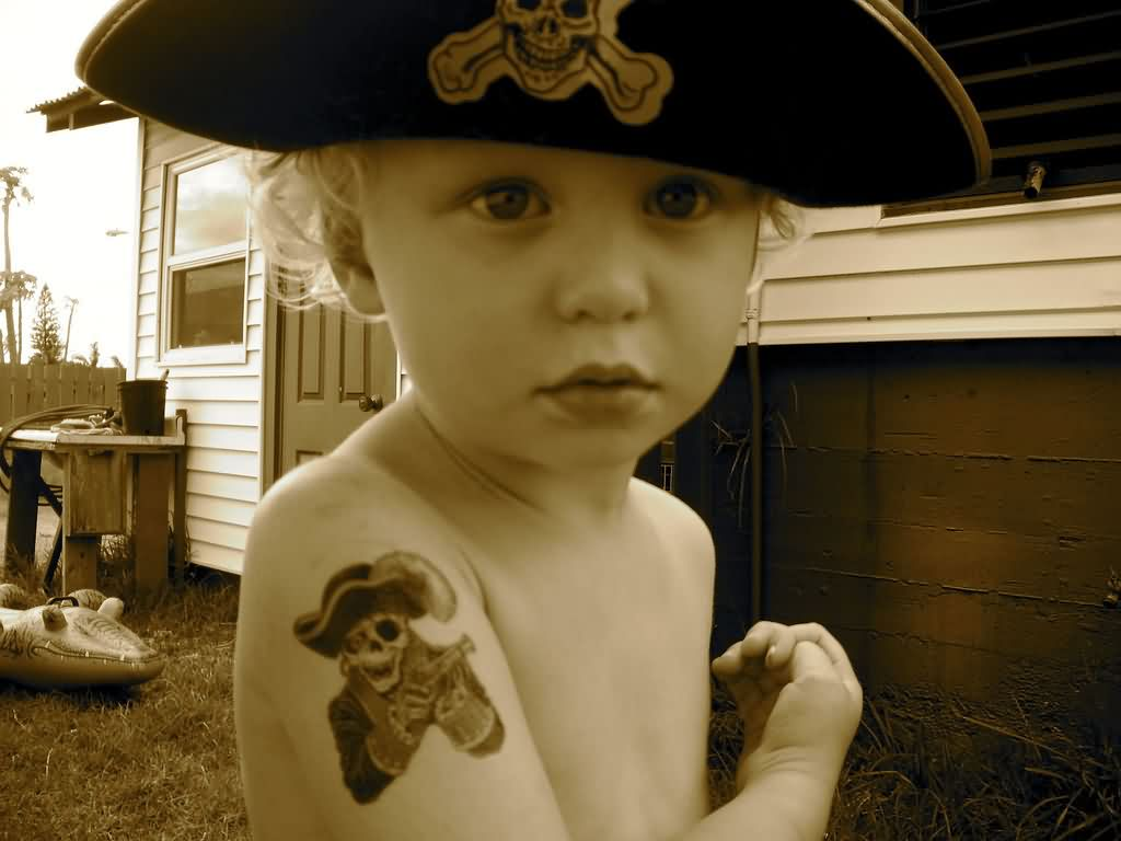 Cute Kid With Pirate Skeleton Tattoo