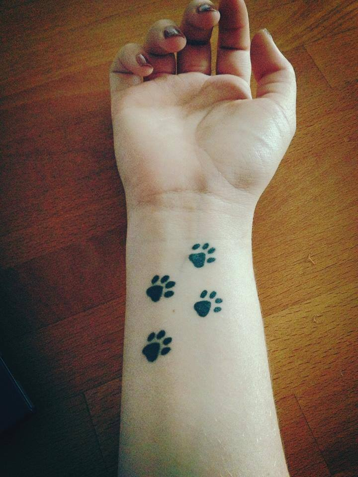 Cute Paws Tattoos On Wrist