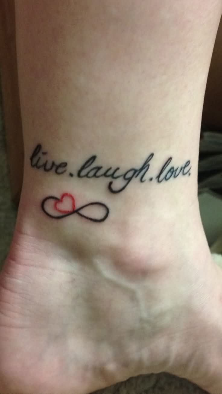 Cute Words And Symbol Tattoos On Ankle