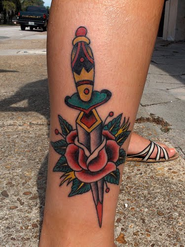 Dagger In Red Rose Tattoo On Leg