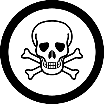 Danger Skull In Black Circle Tattoo Design