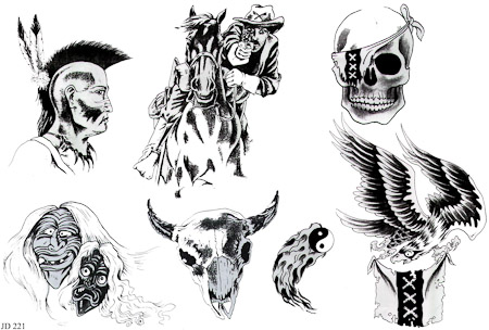 Dark Art Cowboy Indian Native American Eagle Bald Skull Southern Yinyang Horse Indian Tattoo Sheet