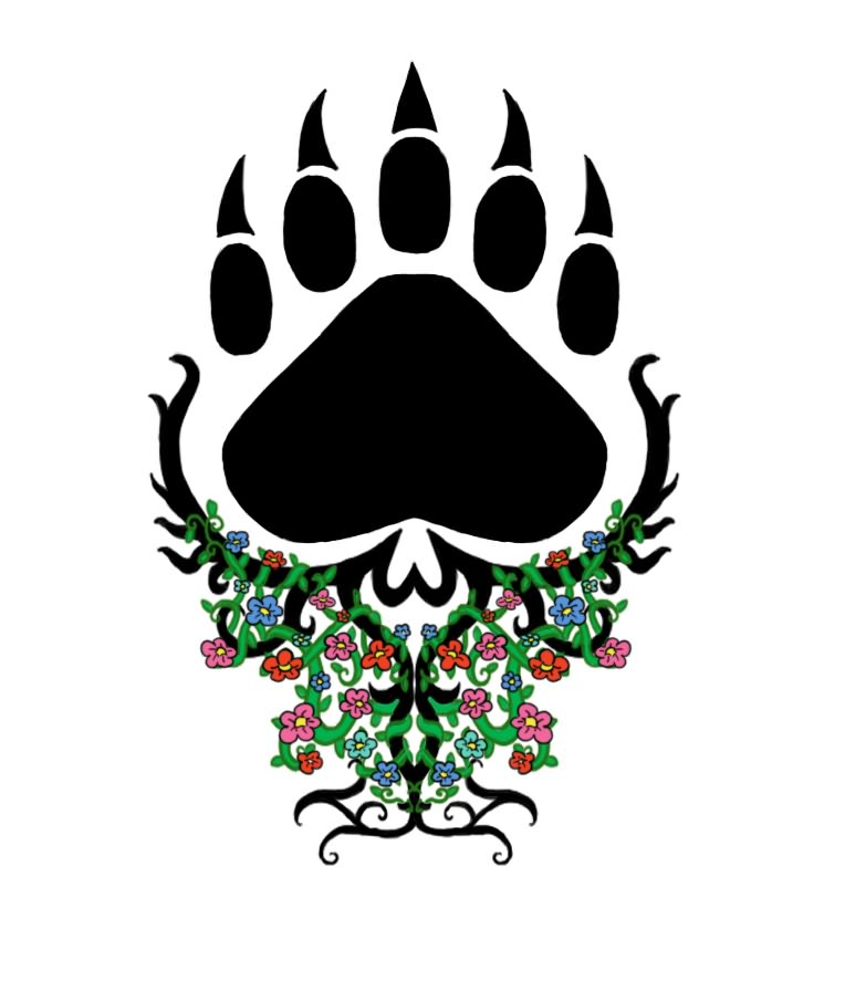 Dark Black Bear Paw And Floral Head Tattoos