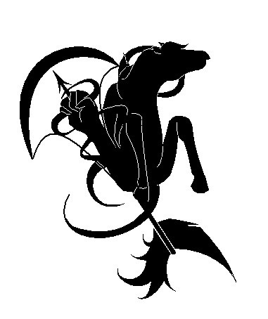 Dark Black Capricorn And Sagittarius Tattoo Designs