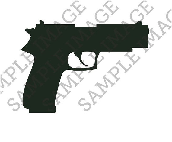 Dark Black Ink Pistol Tattoo Design