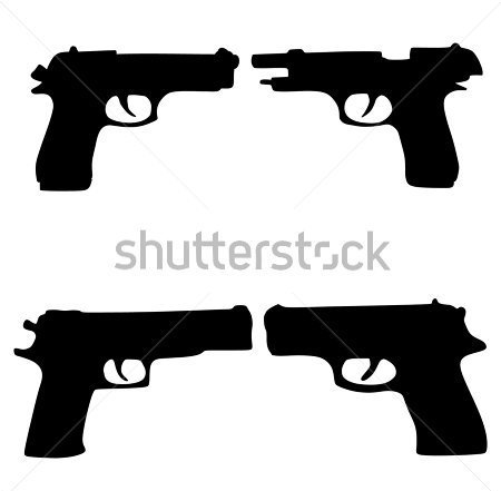 Dark Black Ink Pistol Tattoo Designs