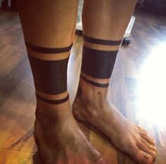 Dark Black Leg Band Tattoos