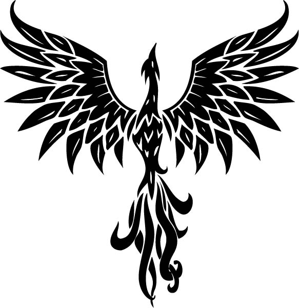 Dark Black Phoenix With Open Wings Tattoo Design