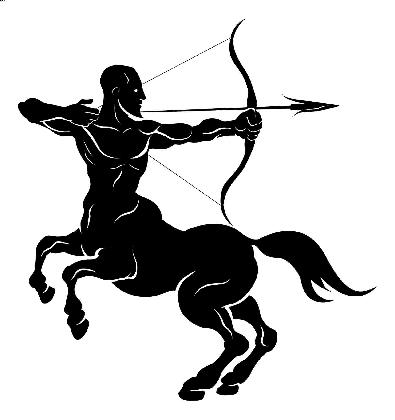 Dark Black Sagittarius Tattoo Stencil
