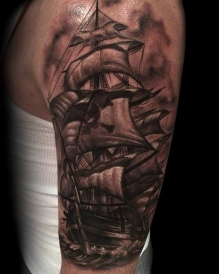 Dark Original Pirate Ship Tattoo On Arm