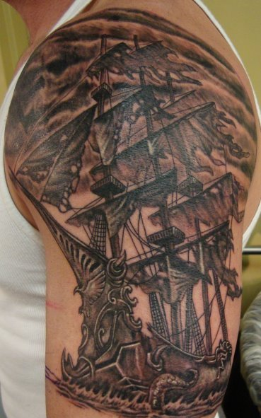 Dark Pirate Ship Tattoo On Arm
