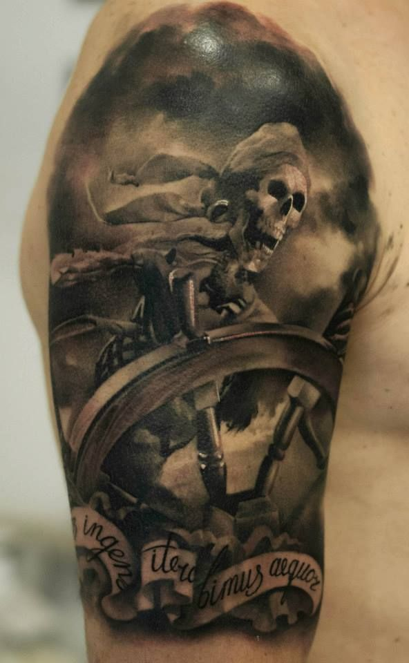 Dark Pirate Skeleton Tattoo On Arm