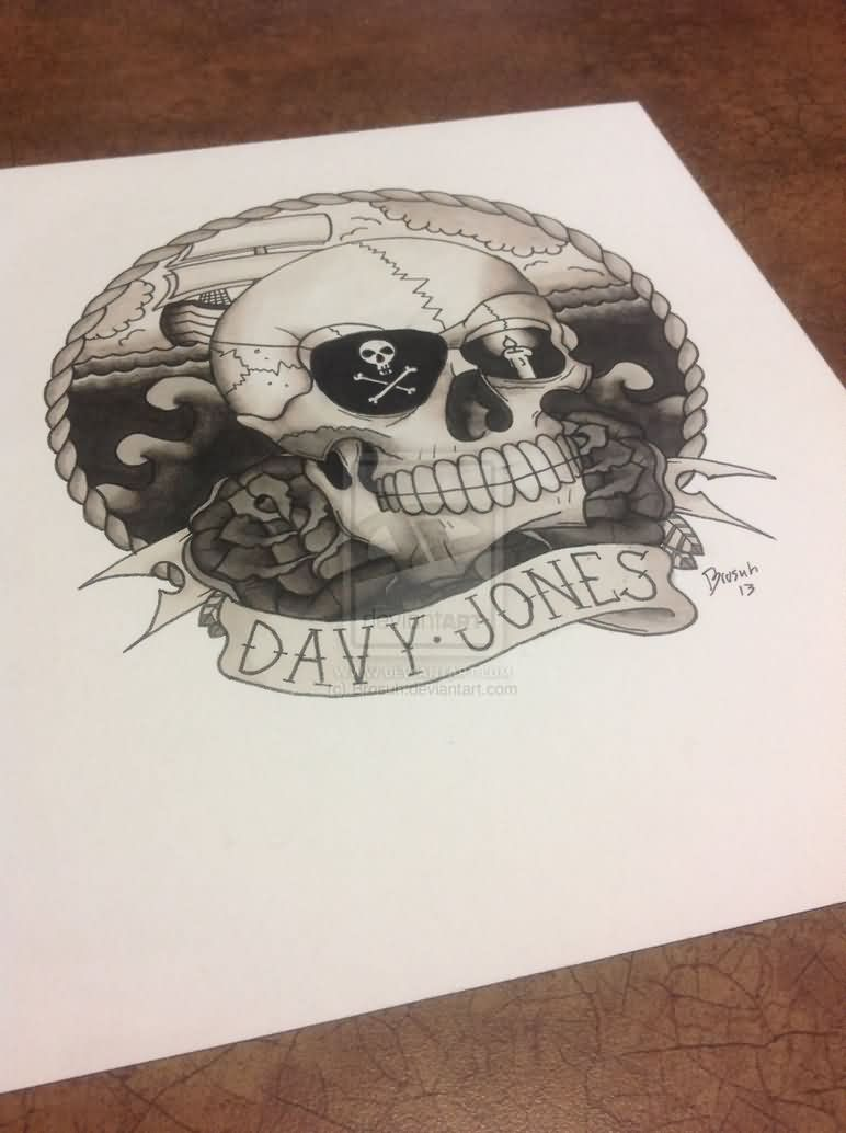 Davy Jones Skull Pirate Tattoo Flash