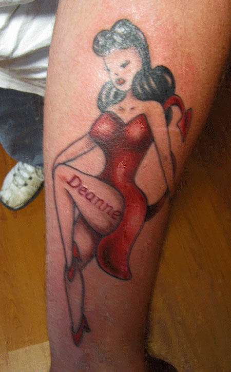 Deanne Pin Up Girl Tattoo On Leg