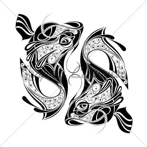 Decorative Pisces Sign Tattoo Design