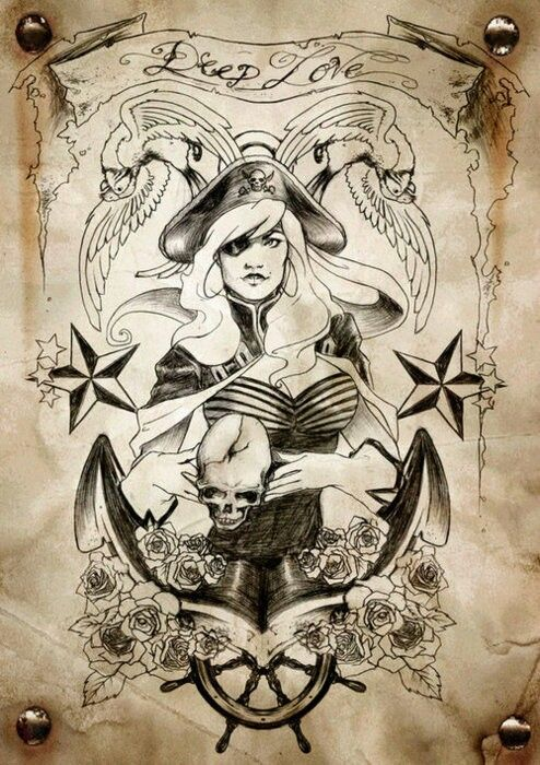 Deep Love Pirate Tattoos Sketch