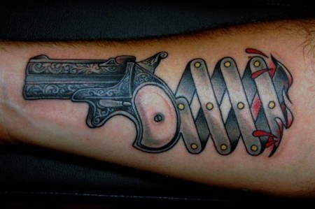 Derringer Pistol Tattoo On Forearm
