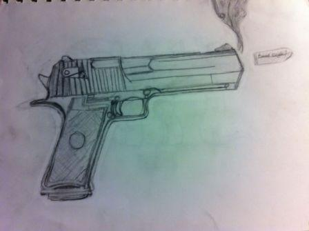 Desert Eagle Gun Tatoo Sketch