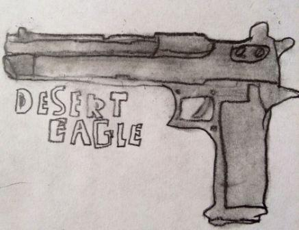 Desert Eagle Pistol Tattoo Drawing