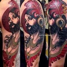 Designer Bearded People Portrait Tattoo On Sleeve