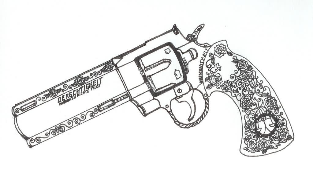 Designer Outline Pistol Tattoo Sketch