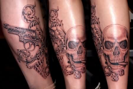 Designer Pistol Smoking Skull Playing Cards And Skull Tattoos