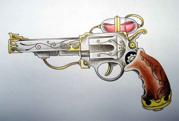 Designer Pistol Tattoo Flash