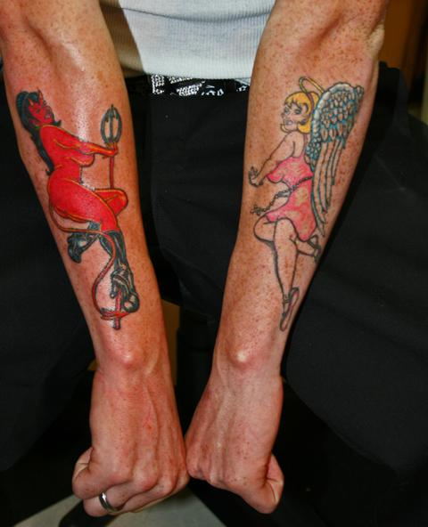 Devil And Angel Pin Up Girl Tattoos On Arm
