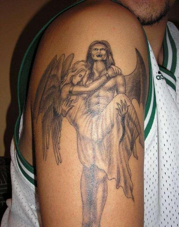 Devil Angel Tattoo On Arm