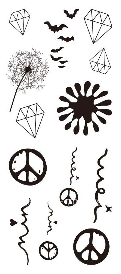 Diamond Dandelionn Peace Symbol Tattoos